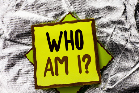 Text sign showing Who Am I Question. Conceptual photo Question Asked Identity Thinking Doubt Psycology Mystery written Stacked Sticky Note Paper the Silver textured background.