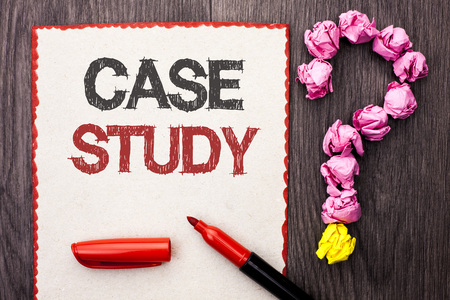 Writing note showing  Case Study. Business photo showcasing Research Information Analysis Observe Learn Discuss Criteria written Cardboard Piece With Marker wooden background Question Mark. Stock Photo