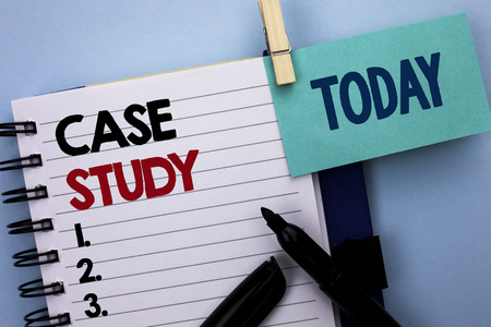 Conceptual hand writing showing Case Study. Business photo text Research Information Analysis Observe Learn Discuss Criteria written Notebook Book plain background Today Marker next to it