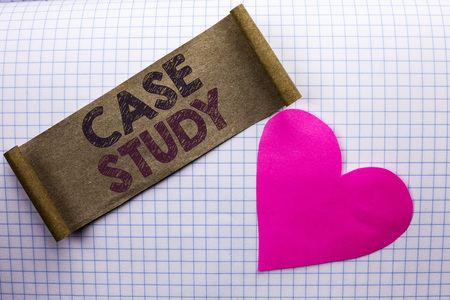 Handwriting text Case Study. Concept meaning Research Information Analysis Observe Learn Discuss Criteria written Cardboard Piece the check background Heart next to it. Stock Photo