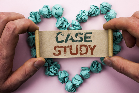Word writing text Case Study. Business concept for Research Information Analysis Observe Learn Discuss Criteria written Cardboard Paper Holding by man plain background Heart Paper Balls.