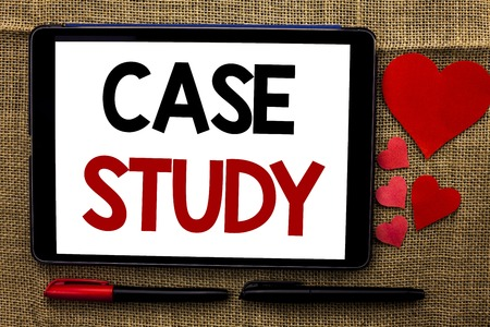 Handwriting text writing Case Study. Concept meaning Research Information Analysis Observe Learn Discuss Criteria written Tablet the jute background Hearts and Pens next to it. Stock Photo