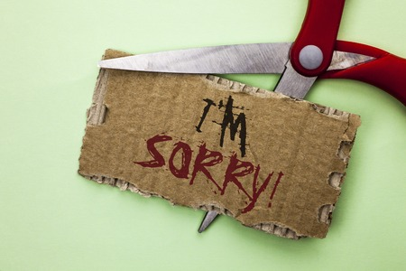 Text sign showing I m Sorry. Conceptual photo Apologize Conscience Feel Regretful Apologetic Repentant Sorrowful written Tear Cardboard the plain background with Scissor. Stock Photo