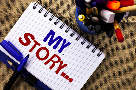 Word writing text My Story.... Business concept for Biography Achievement Personal History Profile Portfolio