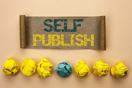 Writing note showing  Self Publish. Business photo showcasing Publication Write Journalism Manuscript Article Facts written Cardboard Paper the plain background Crumpled Paper Balls