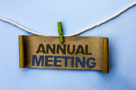 Handwriting text Annual Meeting. Foto de archivo
