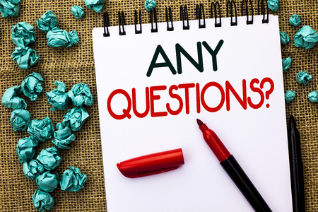 Writing note showing Any Questions Question. Stock Photo