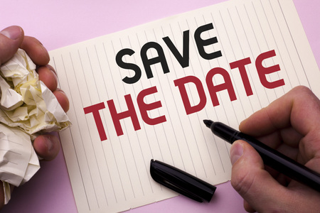 Word writing text Save The Date. Business concept for Remember not to schedule anything else that time Appointment written by Man Notebook Paper Holding Marker the plain background. 写真素材