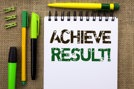 Word writing text Achieve Result Motivational Call. Business concept for Obtain Success Reaching your goals written Notebook Book the jute background Pens and Clips next to it. Stock Photo