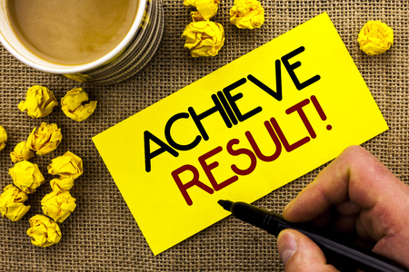 Text sign showing Achieve Result Motivational Call. Conceptual photo Obtain Success Reaching your goals written Sticky Note Paper the jute background Cup and Paper Balls next to it.