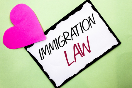 Handwriting text writing Immigration Law. Concept meaning National Regulations for immigrants Deportation rules written White Sticky Note Paper Plain background with Heart next to it.