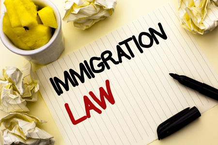 Conceptual hand writing showing Immigration Law. Business photo showcasing National Regulations for immigrants Deportation rules written Notebook Paper the plain background Cup Marker Stok Fotoğraf