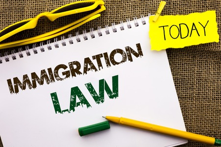 Conceptual hand writing showing Immigration Law. Business photo showcasing National Regulations for immigrants Deportation rules written Notebooke Book the jute background Today Pen. Stock Photo