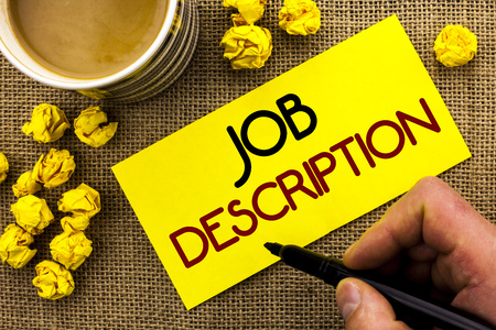 Text sign showing Job Description. Conceptual photo Document that establishes duties requirements exprerience written Sticky Note Paper the jute background Cup and Paper Balls next to it.