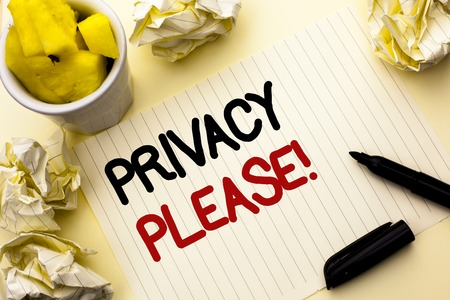 Conceptual hand writing showing Privacy Please Motivational Call. Business photo showcasing Let us Be Quiet Rest Relaxed Do not Disturb written Notebook Paper the plain background Cup Marker Stock fotó - 99302881