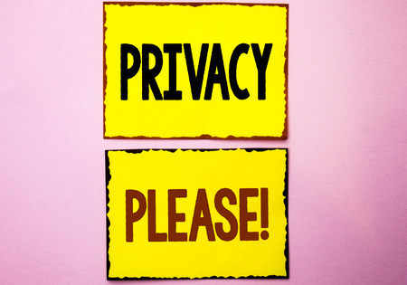 Word writing text Privacy Please Motivational Call. Business concept for Let us Be Quiet Rest Relaxed Do not Disturb written Yellow Sticky Notes the Pink background. Stock fotó - 99302878