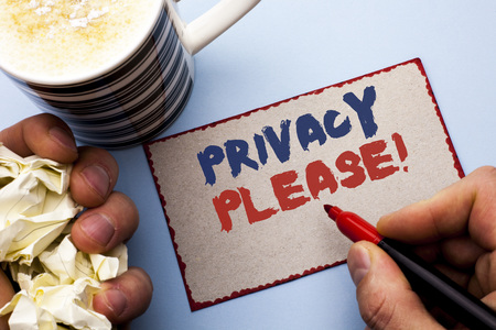 Writing note showing  Privacy Please Motivational Call. Business photo showcasing Let us Be Quiet Rest Relaxed Do not Disturb written by Man Cardboard Piece Holding Marker the plain background Stock fotó - 99302883