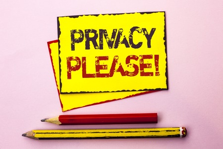 Text sign showing Privacy Please Motivational Call. Conceptual photo Let us Be Quiet Rest Relaxed Do not Disturb written Yellow Sticky Note Paper the Pink background with Pencil next to it.