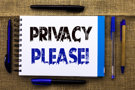 Conceptual hand writing showing Privacy Please Motivational Call. Business photo text Let us Be Quiet Rest Relaxed Do not Disturb written Notebook Book the jute background Pens next to it.