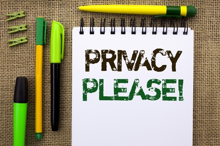 Word writing text Privacy Please Motivational Call. Business concept for Let us Be Quiet Rest Relaxed Do not Disturb written Notebook Book the jute background Pens and Clips next to it.