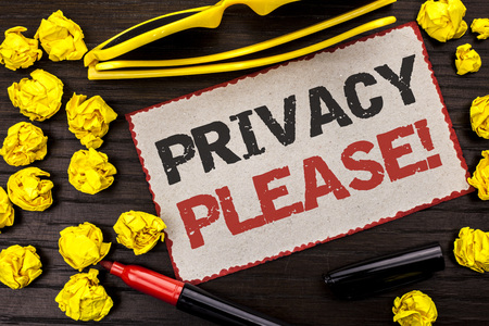 Conceptual hand writing showing Privacy Please Motivational Call. Business photo text Let us Be Quiet Rest Relaxed Do not Disturb written Cardboard Piece the wooden background Marker Glasses. Stock fotó