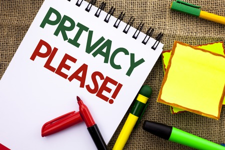 Writing note showing  Privacy Please Motivational Call. Business photo showcasing Let us Be Quiet Rest Relaxed Do not Disturb written Notebook Book the jute background Sticky Note Papers Pens