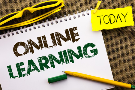 Conceptual hand writing showing Online Learning. Business photo showcasing Distance education Electronic educational Technology written Notebooke Book the jute background Today Pen.