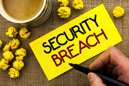Text sign showing Security Breach. Conceptual photo Unauthorized access to Data Network Applications Devices written Sticky Note Paper the jute background Cup and Paper Balls next to it. Stock Photo