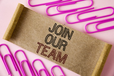 Handwriting text writing Join Our Team. Concept meaning Get over unemployment joining better career workforce written Folded Cardboard paper piece plain background within Paper Pins.