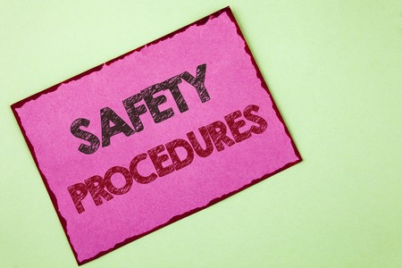 Word writing text Safety Procedures. Business concept for Follow rules and regulations for workplace security written Pink sticky note paper plain background.