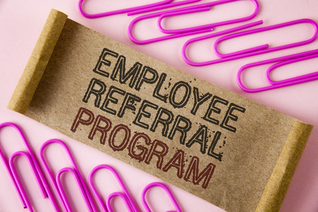 Handwriting text writing Employee Referral Program. Concept meaning Recommend right jobseeker share vacant job post written Folded Cardboard paper piece plain background within Paper Pins.
