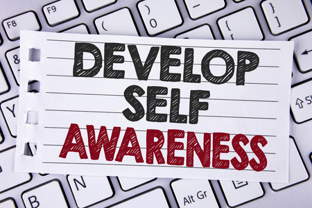 Text sign showing Develop Self Awareness. Conceptual photo What you think you become motivate and grow written Notebook paper placed the Laptop.