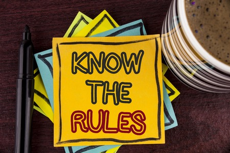 Writing note showing  Know The Rules. Business photo showcasing Understand terms and conditions get legal advice from lawyers written Sticky Note paper Wooden background Coffee Cup and Marker