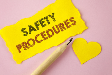Writing note showing  Safety Procedures. Business photo showcasing Follow rules and regulations for workplace security written Tear Yellow paper piece Pink background Heart next to it.