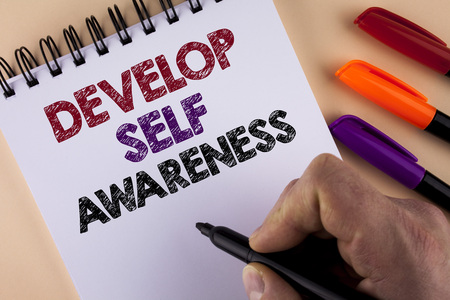 Word writing text Develop Self Awareness. Business concept for What you think you become motivate and grow written by Man with Marker Notepad the plain background Markers next to it Stock Photo