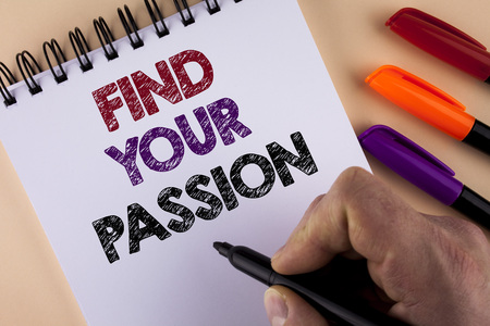 Word writing text Find Your Passion. Business concept for No more unemployment find challenging dream career written by Man with Marker Notepad the plain background Markers next to it Stock Photo