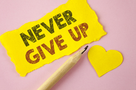 Writing note showing Never Give Up. Business photo showcasing Be persistent motivate yourself succeed never look back written Tear Yellow paper piece Pink background Heart next to it.