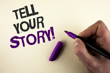 Conceptual hand writing showing Tell Your Story Motivational Call. Business photo showcasing Share your experience motivate world written by Man plain background holding Marker in Hand.