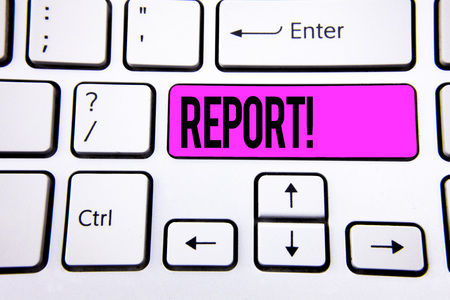 Conceptual hand writing showing Report Motivational Call. Business photo text Information Spoken or written account of results written Key Button White Keyboard with copy space. Top view.