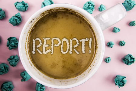 Handwriting text Report Motivational Call. Concept meaning Information Spoken or written account of results written Coffee in White Cup within Crumpled Paper Balls plain pink background. Stock Photo