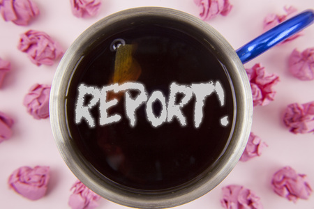 Conceptual hand writing showing Report Motivational Call. Business photo showcasing Information Spoken or written account of results written Tea in Cup within Paper Balls plain background.