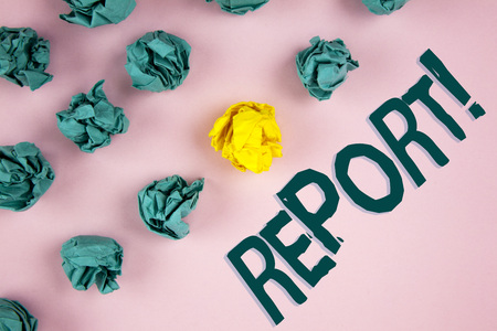 Word writing text Report Motivational Call. Business concept for Information Spoken or written account of results written plain Pink background Crumpled Paper Balls next to it.