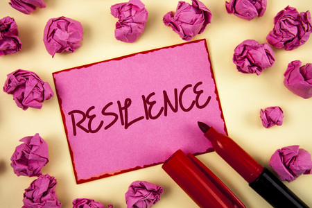 Word writing text Resilience. Business concept for Capacity to recover quickly from difficulties Persistence written Pink Sticky Note Paper plain background Paper Balls and Marker.