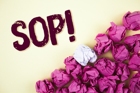 Text sign showing Sop Motivational Call. Conceptual photo Standard Operating Procedure Rules Instructions written Plain background Crumpled Paper Balls next to it.