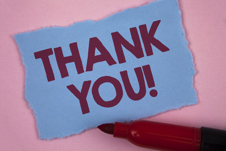 Writing note showing  Thank You Motivational Call. Business photo showcasing Appreciation greeting Acknowledgment Gratitude written Tear Blue Sticky note paper Plain Pink background Marker.