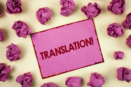 Conceptual hand writing showing Translation Motivational Call. Business photo showcasing Transform words or texts to another language written Sticky Note Paper plain background Paper Balls.