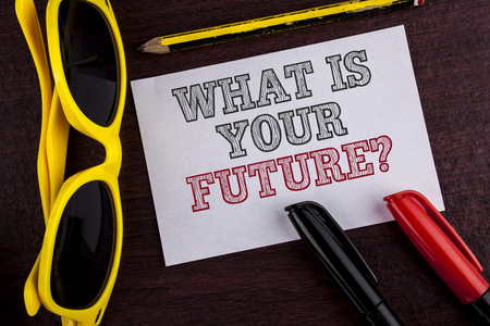 Writing note showing  What Is Your Future Question. Business photo showcasing Where do you see yourself in the next years written Sticky Note Paper wooden background Pen Pencil Glasses