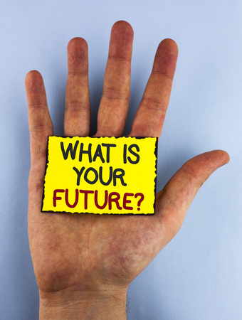 Text sign showing What Is Your Future Question. Conceptual photo Where do you see yourself in the next years written Yellow Sticky Note placed the Hand plain background.