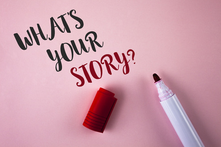 Conceptual hand writing showing What Is Your Story Question. Business photo showcasing Telling personal past experiences Storytelling written Plain Pink background Marker next to it. Stock Photo