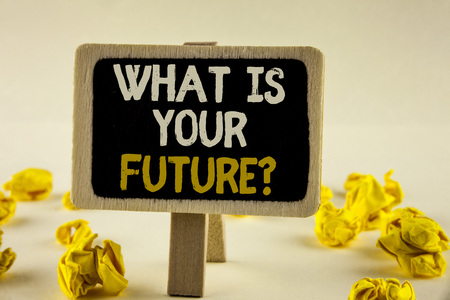 Handwriting text What Is Your Future Question. Concept meaning Where do you see yourself in the next years written Wooden Notice Board the plain background Paper Balls next to it.